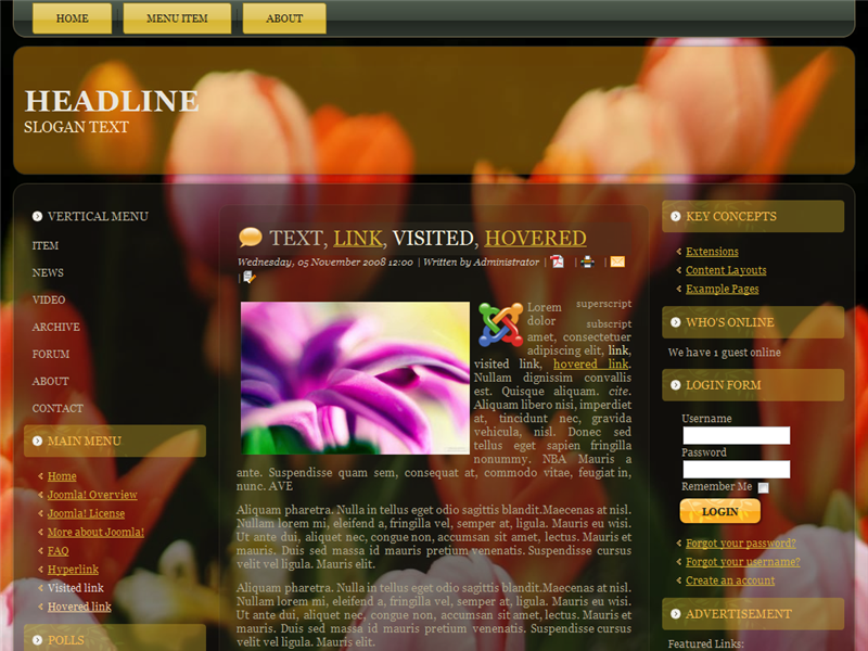 Joomla 2.5 Template:: Flower Shop Clear